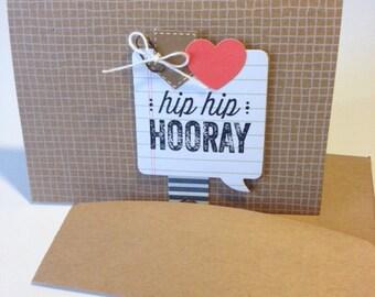 Handmade Hip Hip Hooray Birthday Card