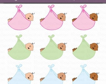 Baby in Sling Digital Art Set Clipart INSTANT DOWNLOAD Commercial Use Clipart Baby Clipart Baby Shower Clipart