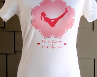 Yoga t-shirt  Boat Pose on White