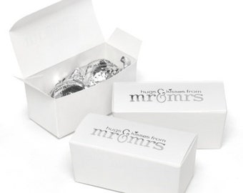 Hugs & Kisses White Wedding Favor Boxes (Pack of 25)
