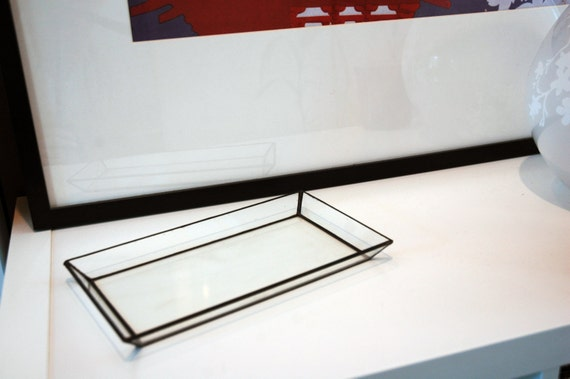 Glass rectangle tray decor jewelry box rectangle home for Long rectangular candle tray