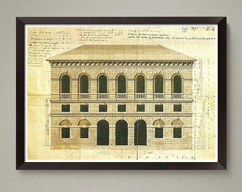 Vintage Architectural drawing art print. Nice home or office decor, great gift. Size 8 x 10 or 11 x 14 inch.
