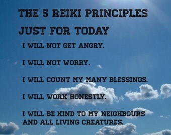 The Reiki Principles A4 Laminated Poster an d Free Oracle Reading