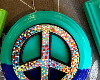 Peace Sign on Wood Panel,Colorful Hand Painted Dots