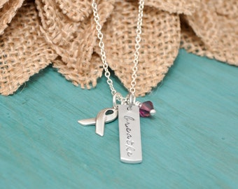 Cystic Fibrosis awareness necklace - Breathe disc with purple crystal and awareness ribbon