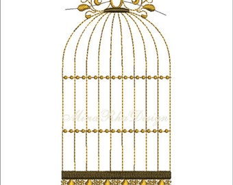 Birdcage Machine Embroidery Design Instant download
