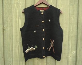 Ugly Christmas Vest Rudolph Deers  Navy Blue Woman Waistcoat Wooden Button Gift for Grandmother Size Large