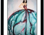 Fashion Illustration Watercolor Painting Signed