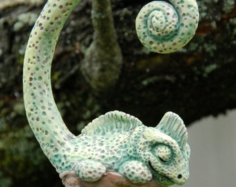 Sleeping Lizard Walnut Ornament