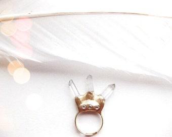 Priestess - Clear Quartz Crystal Geode Ring