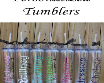 Set of 6 Personalized Bridesmaid Tumblers Glass Personalized Tumbler, Bridesmaid Gift, Bachelorette Party, Bridesmaid Glass