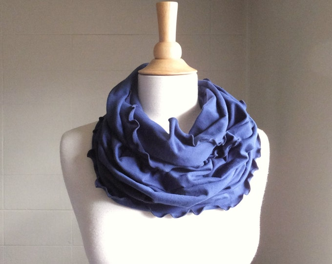 Navy Blue Infinity Scarf cotton jersey circle scarf, chunky cowl scarves ruffle scarf, loop scarf winter accessories nautical accessory
