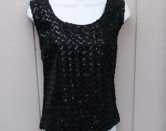 Vintage 60s Mod Black Sequined Shell Top / Sleeveless Party Blouse / Size Med