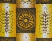 Vintage 60s Barkcloth Fabric Remnant - Scandi MOD Sunburst Retro Leaves