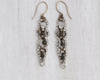 Rhinestone and Brass Earrings - recycled upcycled vintage jewelry components
