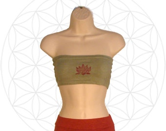 Bandeau tube top - Handmade from Organic Cotton and Hemp Jersey with lotus print- Custom made for you