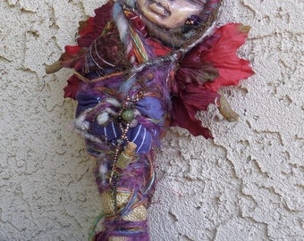 Yule Spirit of Serenity and Peace. Primitive Forest Spirit Art doll.  Kitchen Witch OOAK