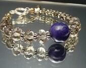 Blue Lapis Smokey Quartz Bracelet // Brown and Blue Bracelet // Sterling Accent Bracelet // Sparkly Stone Bracelet // SRAJD