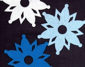 12 pc Lot of Large Felt Snowflakes for a Frozen Party, Bedroom Decor, Winter or Christmas Decorations, Scrapbooking, Cardmaking