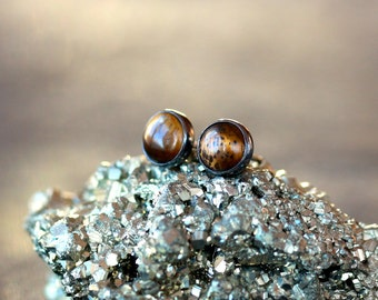 Tiger's Eye Stud Earrings, Gemstone Post Earrings, Sterling Silver Stud, Unusual Gem Earrings, Black Silver, 6mm Size Dot, Tiger Eye
