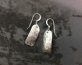 Hammered rectangular sterling silver earrings