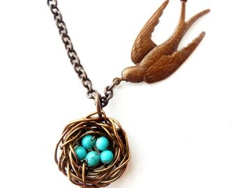 Robin Nest Necklace Bird Necklace|Eggs In The Nest, Gift For BFF Bird Jewelry, Blue Turquoise Robin Eggs Inspirational Jewelry