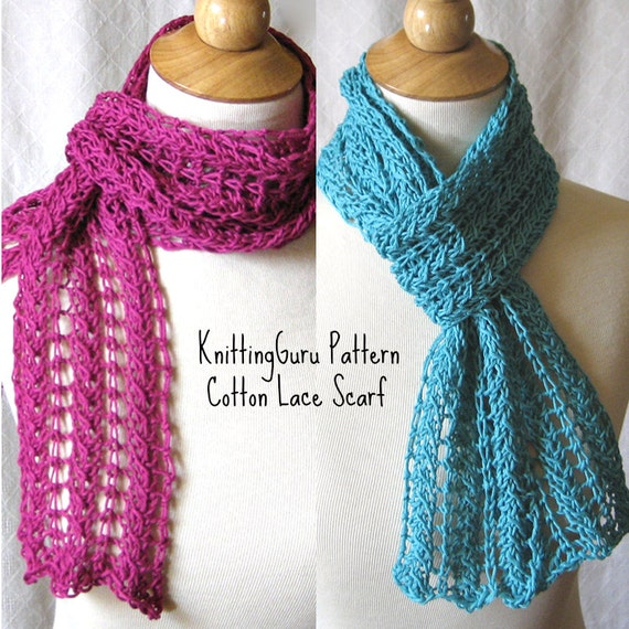 Zig Zag Scarf Knitting Pattern : Knitting Pattern ZigZag Lace Scarf plus 3 by KnittingGuru on Etsy