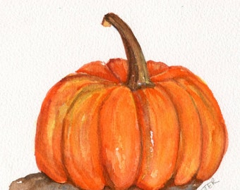 Pumpkin watercolor painting original, Kitchen decor, pumpkin wall art, orange vegetable watercolor, culinary watercolor, culinary art