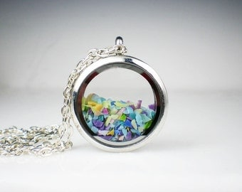 Floating Glass Locket Necklace Teal, Aqua, Violet, Yellow & Peach Glass Jewelry