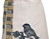 Organic block print chickadee apron