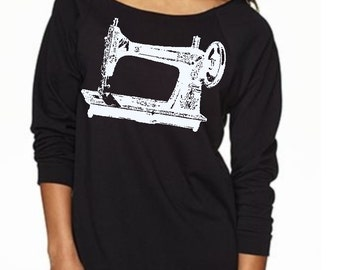 Sewing Machine Shirt long sleeve off shoulder Women's T shirt screen printed Trendy Fall Clothing love to sew tops warm and cozy clothing