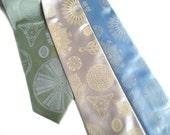Diatom necktie. Silkscreened men's tie. Scientific print. Haeckel illustrations & microscope scans. Your choice of microfiber colors.