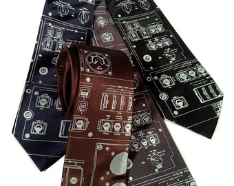 "Space Shuttle Console men's necktie. ""Rocket Science"" tie. Ice blue screenprint. Choose standard, narrow or skinny."