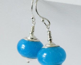 Turquoise blue agate earrings. Sterling silver