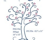 Heart Tree Line Art, Heart Tree PNG File, JPG File Included, Digi Stamps, Line Art, Tree Clipart, Trees Clip Art, Hearts and Trees Line Art