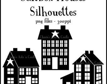 Silhouettes, Saltbox Houses Silhouettes, Prim Graphics, Prim Silhouettes, Primitive Houses Clipart, Clipart Houses, Houses, House Graphics