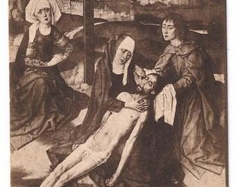 Sepia Jesus postcard french gothic 1400s vintage catholic cross