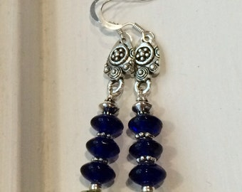 Olive and blue earrings
