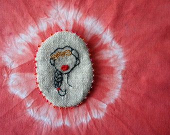 Cameo Number 2 - Braid - Embroidered  Brooch