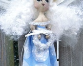 Mini Art Doll Winter Snow Fairy Ornament Primitive folk art