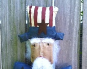 Americana Folk Art Doll Primitive Hanging Uncle Sam Bust