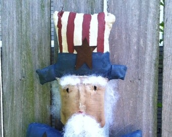 Americana Folk Art Doll Primitive Hanging Uncle Sam Bust