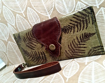 Leather Long Wallet, Phone Case with Wrist Strap & Zipper Pocket Moss / Fern Pattern Print,* SALE * Coupon Codes
