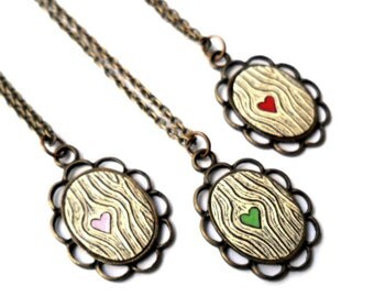 Tiny Wood Grain Necklace, Antique Brass Necklace, Red, Green or Pink Heart Necklace,  Faux Bois Jewelry,  Bridesmaid gift, Woodland Wedding