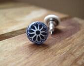 Dark Blue post earrings, Southwestern earrings, Handmade Miniature Mexican tile, Mexican jewelry, Native American jewelry