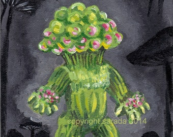 Green mushroom person fantasy sci fi art 5 x 7 original painting Matango horror monster mushroom people