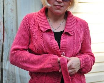 Hand knit merino wool cardigan sweater coat pink