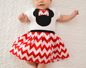 Boutique Sweet mouse DRESS.. Red chevron in our Sweet mouse design
