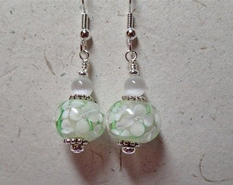 White with green Floral Glass Earrings on silver