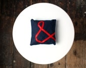 Ampersand pillow embroidered & and sign cushion navy blue linen mini pillow red ribbon lettering typography memake handmade home decor